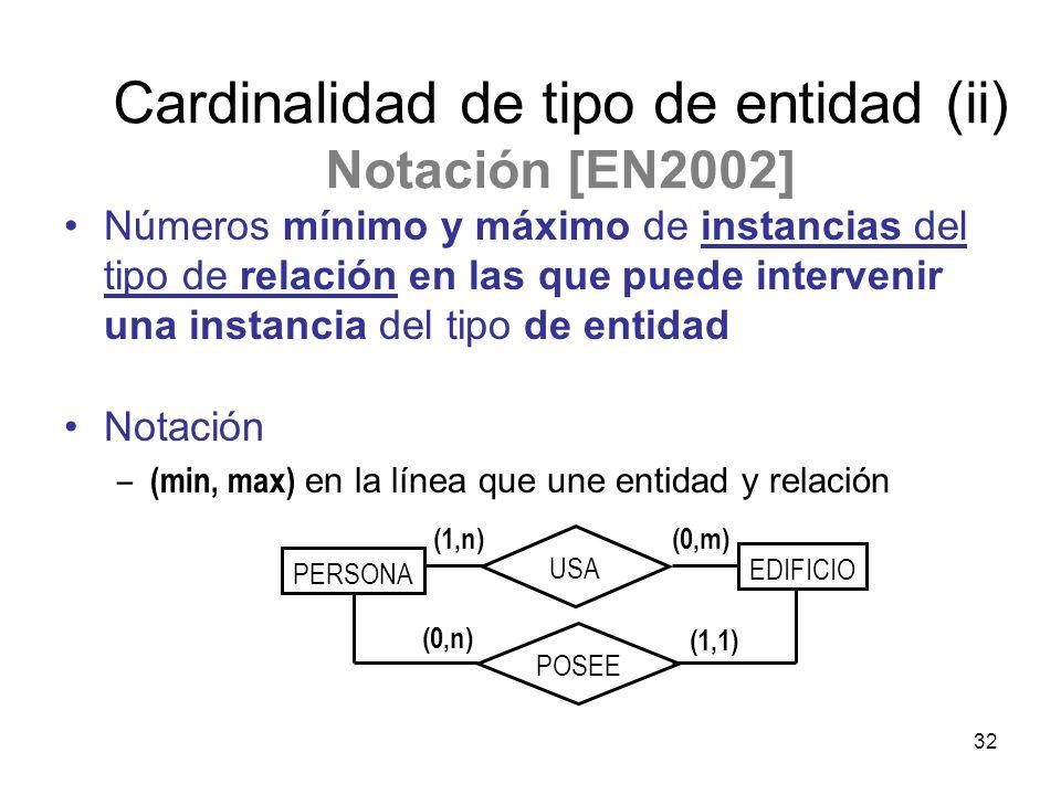 Cardinalidad de tipo de entidad (ii) Notación [EN2002]
